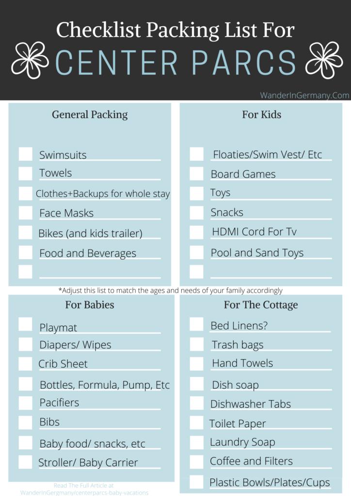 Center Parcs Packing List