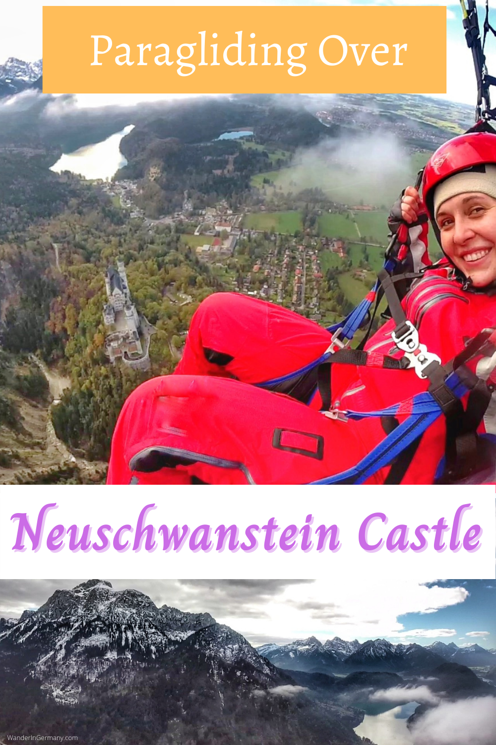 Paragliding over Neuschwanstein Castle in Bavaria Germany