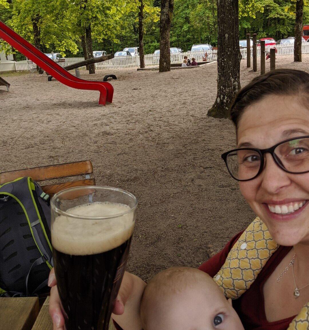 Germany beer garden with kids